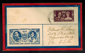 1937 England first day cover to USA Coronation Cachet KGVI King George 6 FDC
