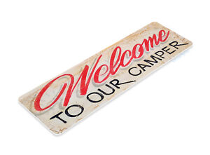 TIN-SIGN-B210-Welcome-To-Our-Camper-Camping-Outdoor-Cabin-Camp-Decor