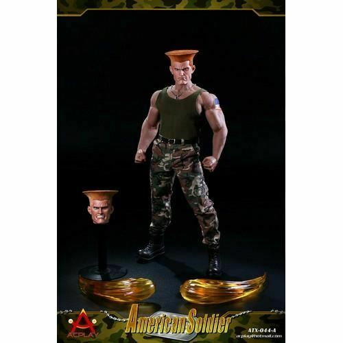 Street Fighter Guile American Soldier Outfit + 2 Headsculpt for 1 6 figure custo