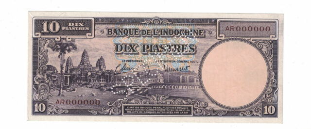 FRENCH INDOCHINA - SPECIMEN 10 PIASTRES 1947 Pick# 80s Choice UNC. ( #1416)