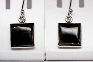Sehr-seltene-schwarzer-Sonnenstein-Ohrhaenger-925-Silber-Ohrschmuck-Top-Stein