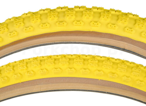 Kenda Comp 3 old school BMX skinwall gumwall tires 24 STAGGERED - YELLOW (PAIR)