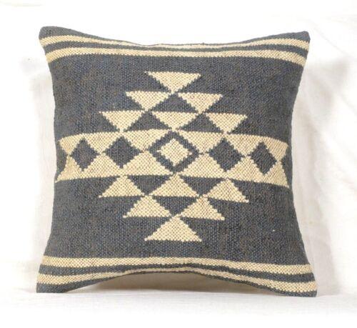 Wool Jute Hand Woven Kilim Cushion Cover Hand Made Throw Pillows Case Boho 1115