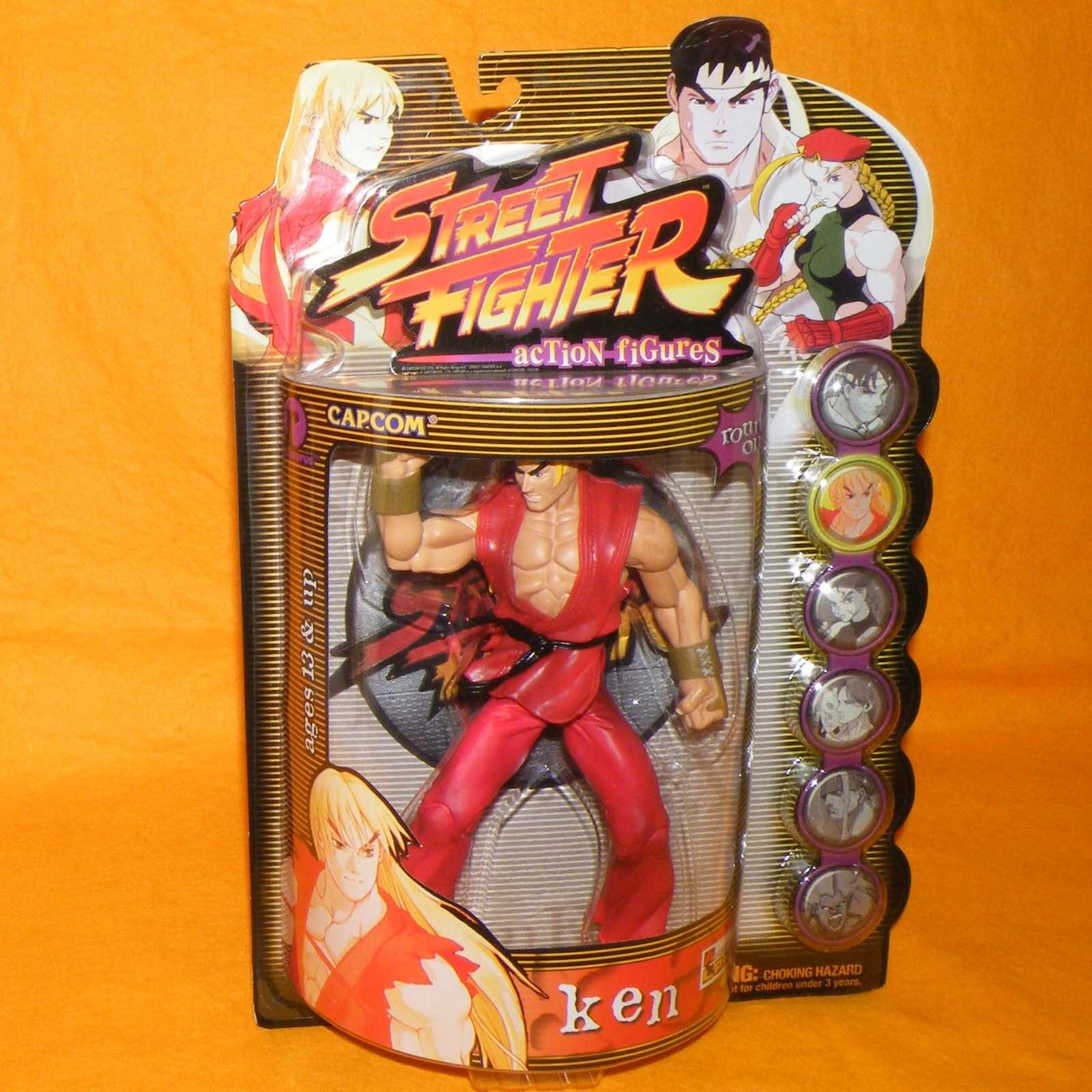 1999 RESAURUS CAPCOM STREET FIGHTER ROUND ONE KEN FIGURE MOC CARDED PLAYER 1