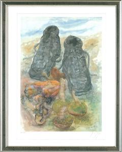 Guenter-Grass-1927-2015-Pilze-u-Schuhe-2002-gerahmt-signiert-nummeriert