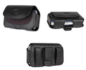 Black-Leather-Side-Case-Cover-Clip-Pouch-with-Belt-Loops-for-Cellphones