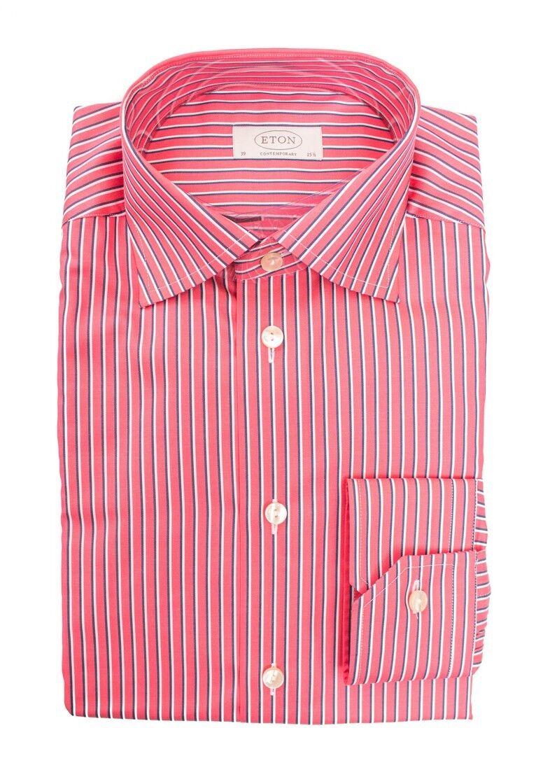 Uomo Eton Rosso a Righe, in Cotone Aperto Camicia collo 15 1 2 M 39