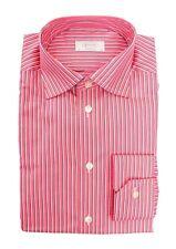 Mens ETON Red Striped Cotton Spread Collar Dress Shirt 15 1/2 M 39 NWT $245!