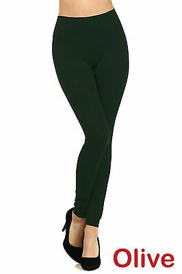 Womens Leggings Solid Seamless Skinny Pants Black Stretch Footless One Size New