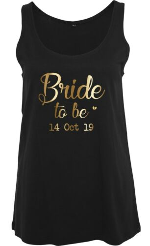 Personalised Bride To Be Ladies T-Shirts Vests Wedding Party Hen Do Gold Printed