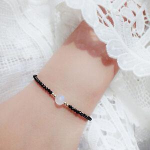 Natrual-stone-Black-Spinel-2-3mm-amp-Moonstone-925-sterling-silver-Bracelet-7inch