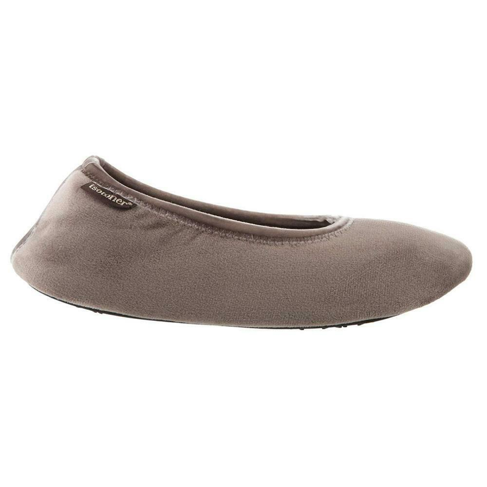 ISOTONER Women's Memory Foam Victoria Ballerina Slipper Stretch Velour...
