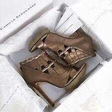 Camilla Skovgaard Bronze Woven Metallic Nappa Leather Saw Edge Ankle boots 39