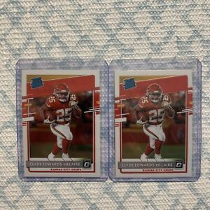 2020 Donruss Optic Clyde Edwards-Helaire Rated Rookie 2 Card Lot.