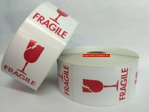 2 Rolls of 2x3 White /& Red Cracked Glass Fragile Labels 500 Labels Per Roll
