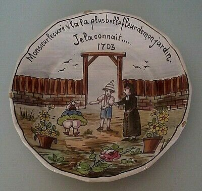 Analytisch Rare Assiette Humoristique Faïence Nevers La Plus Belle Fleur De Mon Jardin Xixè