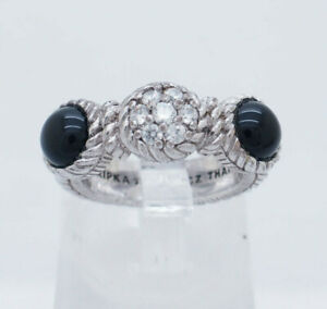 Sterling-Silver-925-JUDITH-RIPKA-3-Station-Onyx-amp-CZ-Rope-Cocktail-Ring-5