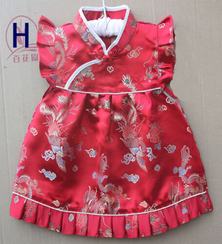 Baby Toddler Girl Chinese Asian Kid Costume Cheongsam Top Dress Silk Dresses Set