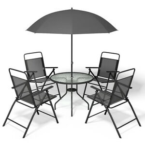 Wondrous Details About 6 Pcs Patio Garden Set Furniture 4 Folding Chairs Table With Umbrella Gray New Pdpeps Interior Chair Design Pdpepsorg