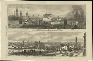 Richmond-Virginia-Ruins-Neighborhoods-Burning-1865-antique-wood-engraved-print