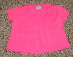 Carters Baby Girls Hot Pink Cardigan Sweater Short Sleeve Size 12