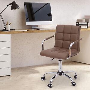 HomCom-Modern-Office-Chair-PU-Leather-Mid-back-Executive-Arm-Task-Swivel-Brown