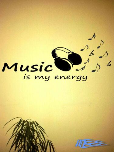 Wandtattoo Music is my Energy Matt Geschenkidee Kopfhörer Noten Wandaufkleber