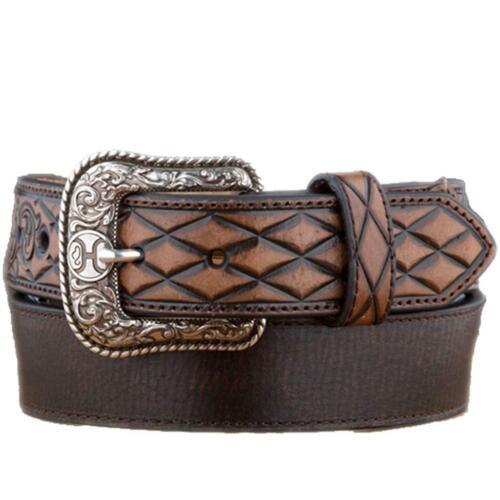 Hooey Western Mens Belt Leather Logo Tooled Scroll Brown 1833BE4