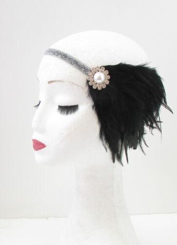 Black Silver Pearl Feather Headpiece Flapper 1920s Great Gatsby Headband Vtg 29