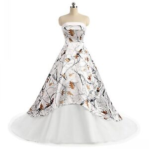 White Snowfall Camo Wedding Dress Ball Gown Tulle Camouflage Lace Up ...