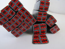 Polymer clay cane, plaid, red and black plaid, raw clay canes, unbaked clay cane