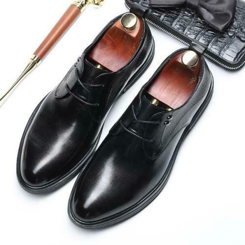 Details about  /Mens Real Leather Business Shoes Pointy Toe Work Office Lace up Oxfords Casual L