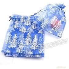 20x Christmas Tree Pattern Printed Organza Pouch Blue Gift Bag 13x18cm Fit DIY D