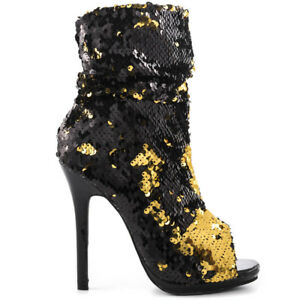 28b009e89fe8 Lauren Lorraine Marlow Black   Gold Sequin Peep Toe High Heel Sexy ...