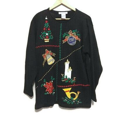 Vintage Victoria Jones Black Embroidered Ugly Christmas Sweater Medium M | eBay