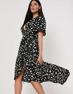 BNWT-MISSGUIDED-Black-ditsy-floral-hi-low-midi-wrap-dress-size-12-euro-40-NEW