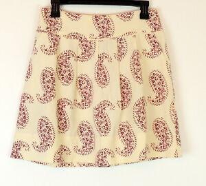 Ann-Taylor-Loft-Womens-2-Skirt-Linen-Paisley-A-Line