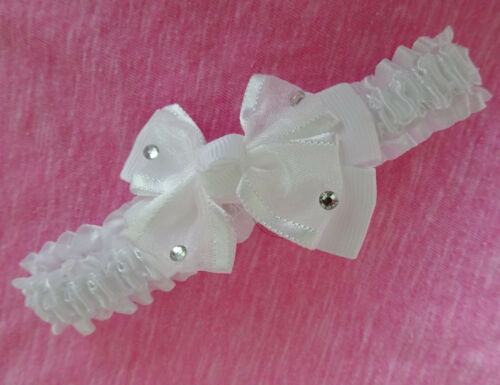 Cute Baby Headband Kylie Bandeau White Satin with Diamante Bow Detail