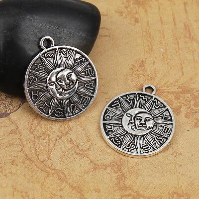 BULK 20 Sun moon zodiac sign charms antique silver tone S112
