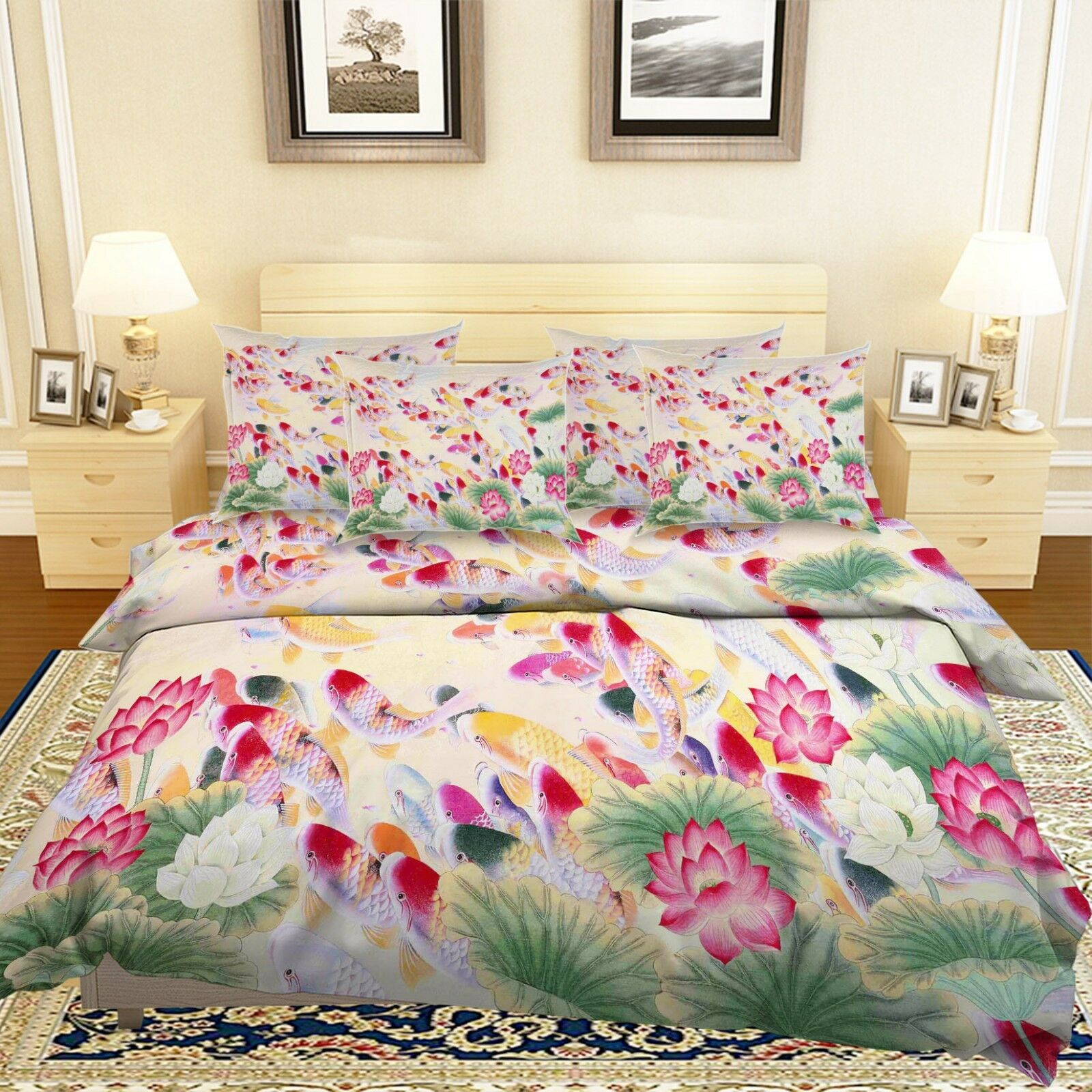3D Painted Pond Fish8 Bed Pillowcases Quilt Duvet Cover Set Single Queen King CA