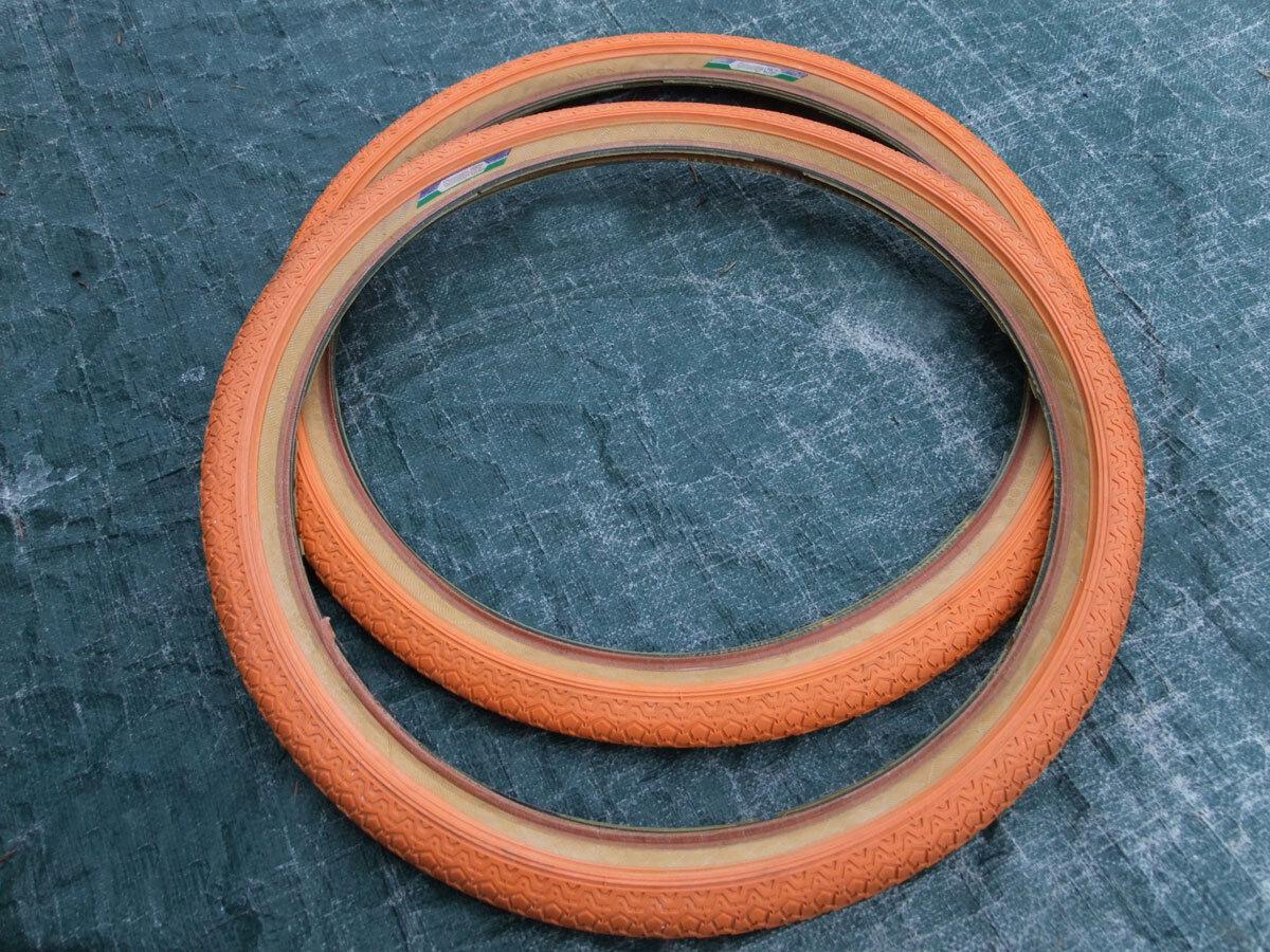 Used Racing BMX Bike 20 x 1.75 Mitsuboshi Compe ST Nylon Skin Wall Tires, orange