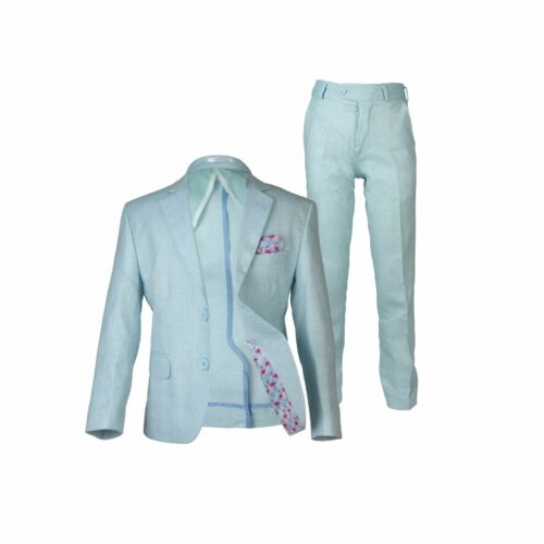 Boys Mint Linen Casual Suits Page Boy Outfit Boy Formal Misty Teal Suit