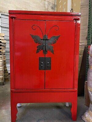Oriental Antique Red Armoire Wardrobe Cabinet Furniture Ebay