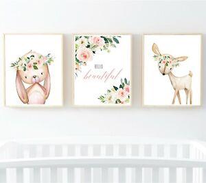Blush-Woodland-Animals-Hello-Beautiful-Nursery-Prints-Rabbit-Deer-Wall-Art-614-A