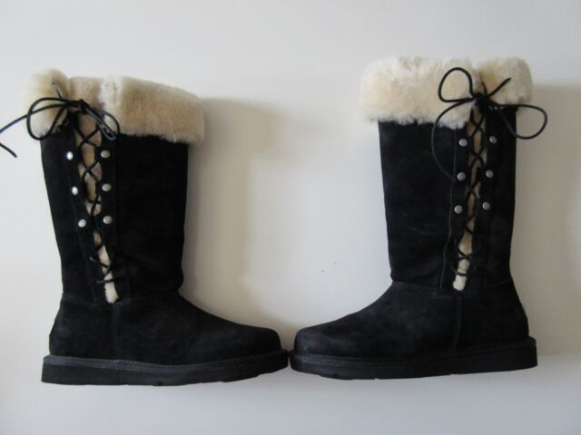 d2c400158 NIB UGG Australia Upside Black Suede Knee High Lace-up Sheep Fur Lined Boots  7