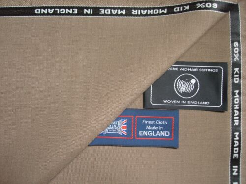 3.4 m. 60/% SUMMER KID MOHAIR /& 40/% WOOL WORSTED SUITING FABRIC MADE IN ENGLAND