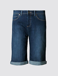 Ex-M-amp-S-Ladies-Women-Per-Una-Roma-Rise-Shorts-Denim-Lift-Pants-Trousers-Knee-UK