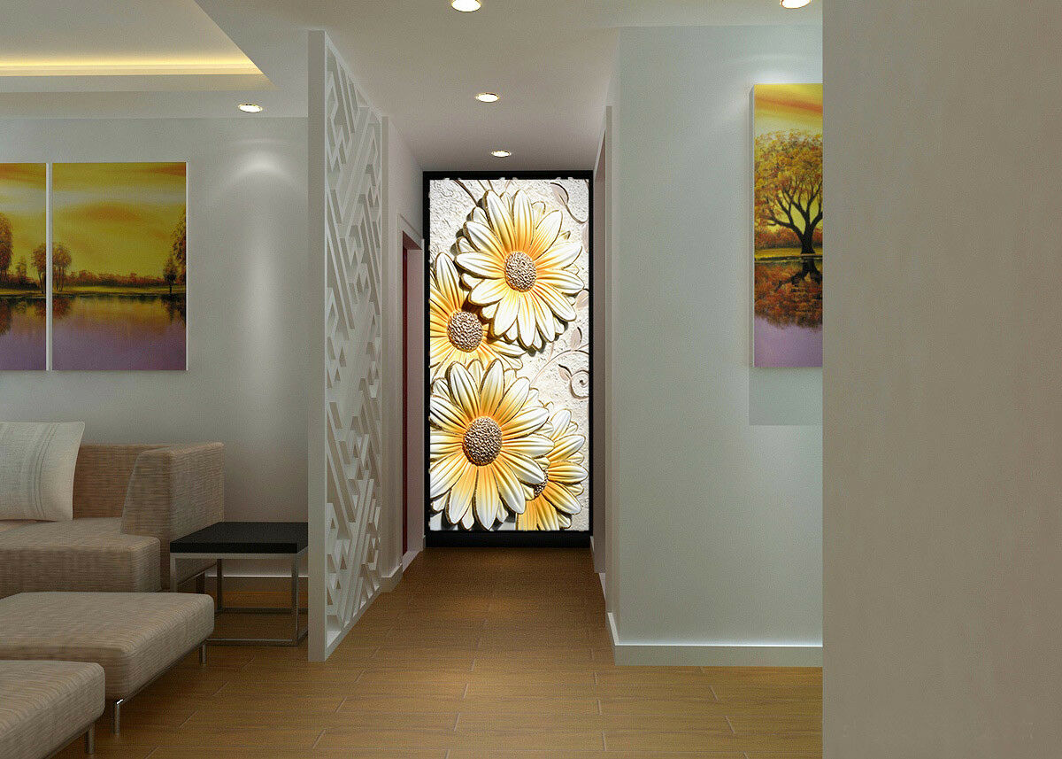 3D Daisy Emboss 56 Wall Paper Wall Print Decal Wall Deco Indoor Mural Lemon