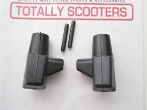 LAMBRETTA-BLACK-STAND-RUBBER-FEET-amp-PINS-PAIR-TOP-QUALITY