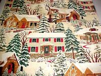 Thimbleberries Fabric Christmas Street 2007 Winter Holiday Snow House 1.7 Yd